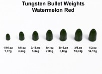Tungsten Bullet Worm Weight (5 Stück) Watermelon Red